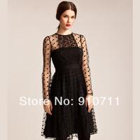 2014new Elegant velvet gauze long-sleeve o-neck british style double layer high waist one-piece dress  1set/lot