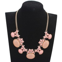 Wholesale Jewelry Pink Resin Beaded Oval Choker Collar Necklace New Fashion Necklaces for Women Gifts Item Free Shipping #104632