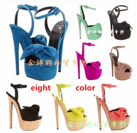 "2014 women's brand super high heels.""Take bowknot ultra-high water table sandals GZ suede sandals High quality.Size 35 - 41"