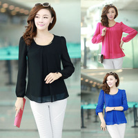 Ladies Womens Chiffon Puff Long Sleeve Crew Neck Causal Loose Tops Blouse Shirt New 2014 Summer Hot Selling