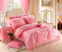 2014 New,Satin embroidered jacquard lace rose wedding set home textile,duvet cover,Romantic bedding, lace rose comforter set