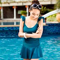 2014   one-piece dress swimsuit hot springs female plus size swimwear