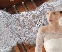 Boutique white eyelash lace ,high-grade soft eyelash lace dress lace wide 16 cm