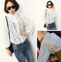 Octopussy 2014 women's shirt rhombus perspective lace crotch sexy small all-match shirt