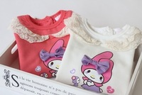2014 new spring & autumn girl lovely bowknot cotton fleece t-shirt very good quality    have age 2-7