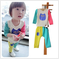 Kids 2-7 years old boys cartoon owl spell color leisure suit children suit