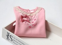 2014 new spring & autumn girl lace collar necklace bowknot cotton hubble-bubble sleeve T-shirt very good quality    have age 2-7