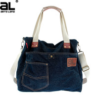 2014 new designer fashion brand bags for women denim jean handbag shoulder tote bag with high quality