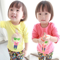 NEAT 2014 new free shipping children t shirt T-shirts flower baby girls long sleeve lace clothing kids wear 0-3Y