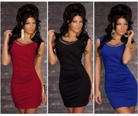 M XL XXL Plus Size 2014 New Fashion Women Sexy O Neck Bodycon Bandage Clubwear Mini Dress Party Dress N0D82