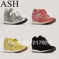 2014 New Top Sale Women Sneakers Wedges Height Increasing Shoes Genuine Leather elevator shoes Leisure sports Shoes