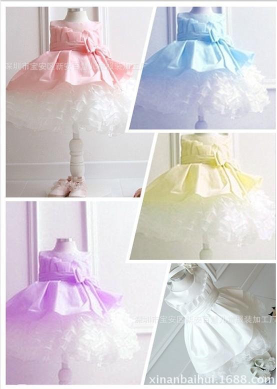 2014 Retail girl dresses girl's party High-grade Princess dresses chiffon Big bowknot childrens clothing dress 4 Colors(China (Mainland))