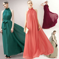 Free Shipping New Fashion 2014 Women's Ruffle Summer Sleeveless Casual Chiffon Maxi Long Maxi Evening Cocktail Party Dress