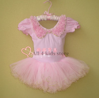 2014 New Pink Kids Girls Leotard Ballet Tutu Dance Costume Princess Dress will flower collar 3-8Y barbie dress
