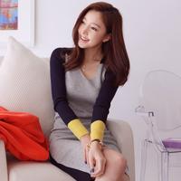 2013 autumn and winter basic thread color block sexy hip slim one-piece dress basic shirt