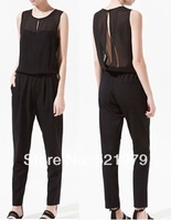 women new fashion Jumpsuits 2014 summer spring Chiffon sexy transparent ladies club bodysuits Onesie Overalls Female Rompers