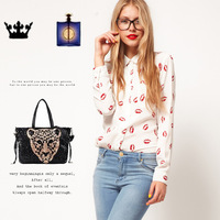Brand New Kiss red lip print top tee blouses White Black Long Sleeve women Shirts top Button cheap discount free shipping