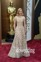 The 86th Academy Awards 2014 Cate Blanchett  A-Line Pearls Sequins Floor Length Celebrity Dress