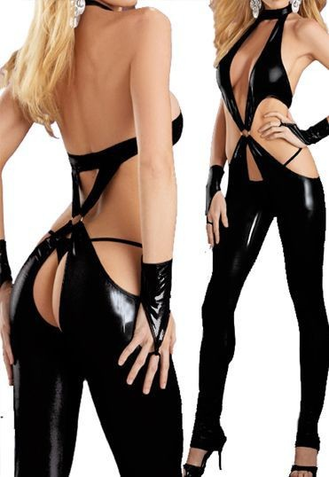 20% OFF Lady Gaga Women Black Sexy Open Crotch Latex Catsuit Erotic Fantasy Pole Dance Costumes Lingerie(China (Mainland))