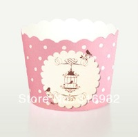 E1 Cake Cup 100pcs per lot pink dots polka cute horse baking Muffin cup muffin cases cake! Height:40mm,Base:50mm