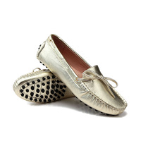 US Size 5 6 7 8 9 New Gold silver REAL Leather Lace Up tie Loafer Driving Moccasin slip on Loafer women flat ballet flat Shoes