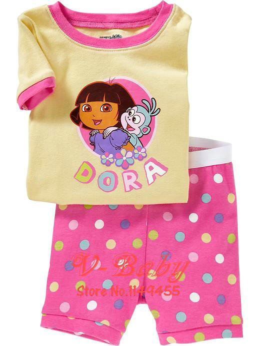 Cartoon Dora pajama sets Summer pyjama Cute dots pijamas Cotton shirts+shorts 2pcs set Kids homewear / sleepwear 6sets/lot(China (Mainland))