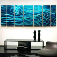 """Modern Abstract Painting Metal Wall Art Sculpture """"Aqua Blue Wave II"""" Jon Allen~"""