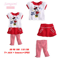 New 2014 children clothing set cartoon Minnie clothes for summer,3pcs sets short sleeve t shirt+pants,fashion suits