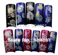 HOTSALE 50sheet/LOT Beautiful 3D Flower Nail Art Stickers Decals Manicure Nail Art Decoration 3d nail art+individually packaging