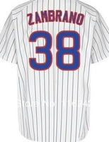Discount Free Shipping Baseball Jersey Chicago Cubs 38# carlos zambrano Embroidery Logos Men's White Stripe size:48-56