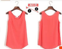Exclusive new arrival  2014 Women New Casual Sweet Candy Color Slim Fit Sleeveless Chiffon Blouse Shirt Top