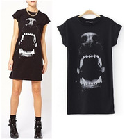 New 2014 Fashion Women's Spring Summer Crew Neck Animal Dog Mouth Print Raglan Short Sleeve Tee Dresses Mini Dress Tops
