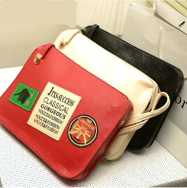 Hot sale!!! College personality style badge medal Envelope Shoulder bag fashion bandbag 3 color free shipping(China (Mainland))