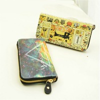 2014 women's handbag fashion vintage star cartoon doodle design long wallet women's purse  free shipping