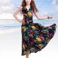 New 2014 one-piece dress V-neck high waist expansion dress  plus size  3xl  bohemia beach   long dress   summer  women  dress
