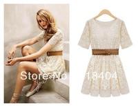 With Belt! Free Shipping 2013 Promotion Women Summer Fashion Sexy Short Sleeve Lace Mini Vintage Elegant Dress WC182 FY