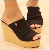 free shipping 2014 platform high heels wedges summer women's fashion black 8515 slippers