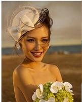 Vintage fashion small fedoras cap female hair accessory veil woolen bow white cap wedding hat