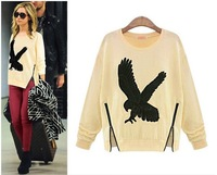 Free Shipping 2014 Spring women fashion Eagle Printed long sleeve sweatshirts