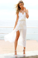 Free shipping 2014  new fashion chiffon cut out neck Irregular dress,party dress FT682