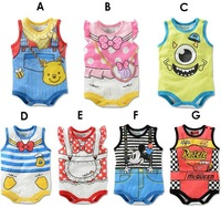 New Hot Promotion sale 1pc Children Jumpsuit  Sleeveless Cartoon Romper Toddle Cute Overalls Kid Animal Summer Baby BodySuits