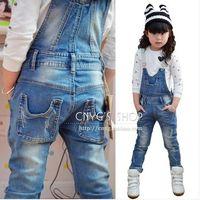 2014 female child retro finishing jeans child one piece bib pants