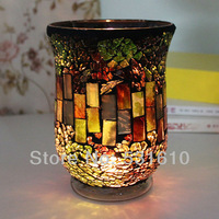 High-grade European style restoring ancient furnishing articles candlestick Glass Mosaic candle holders