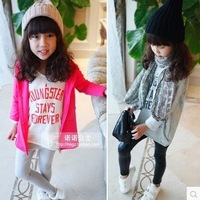 2014 female child long design slim hip skirt casual long-sleeve T-shirt letter