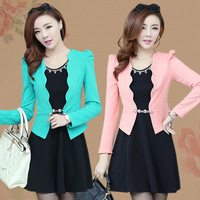 2014 spring women's slim bow beading rivet basic long-sleeve twinset one-piece dress