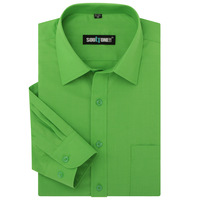 Man spring 2014 easy care business casual male long-sleeve shirt green men's clothing casual shirt,free shipping