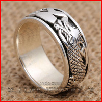 2014 Fashion 925 Sterling Silver Retro Court Dragon Retro Alumni Rings Without Stone for Couples