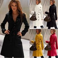 New 2014 Fashion After Split Turn-down Collar Slim Long Wool Blend Coat For Women,Winter Jackets Women's Clothing XS-XXL