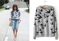 TOP Quality 2014 women Casual Long Sleeve Swallow Bird Animal Print Womens Sweater shirt Pullover Hoodies