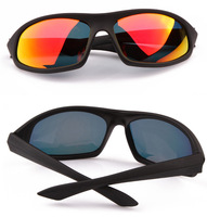 Free Shipping Glare Blocking Men's POLARIZED TAC Sunglasses CASE with Night Glass 2 Pcs Sports Style Black Frame Red Lens